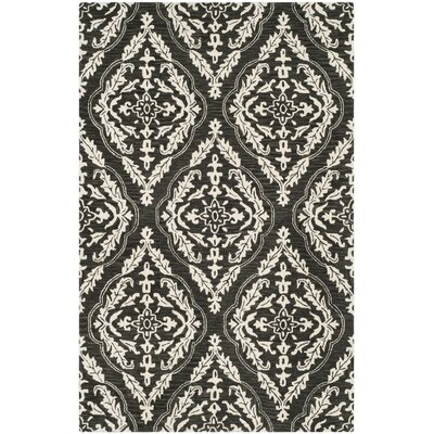 Bevis Hand Tufted Wool Charcoal Medallion Area Rug Rug Size: Square 6