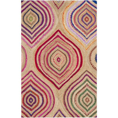 Abhay Boho Hand Woven Beige/Pink Area Rug Rug Size: Rectangle 6 x 9
