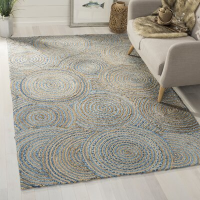 Abhay Boho Hand Woven Jute/Sisal Gray/Blue Area Rug Rug Size: Rectangle 6 x 9