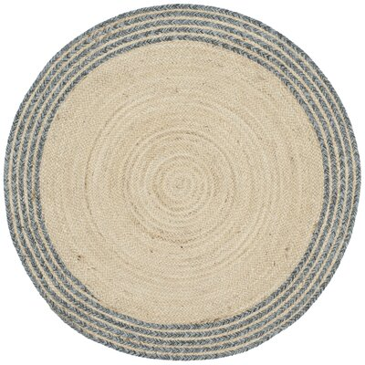 Abhay Hand Woven Cotton Round Ivory Area Rug Rug Size: Round 3