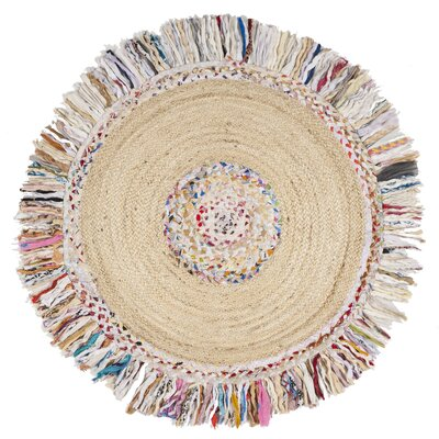 Abhay Hand Woven Round Ivory Area Rug Rug Size: Round 3