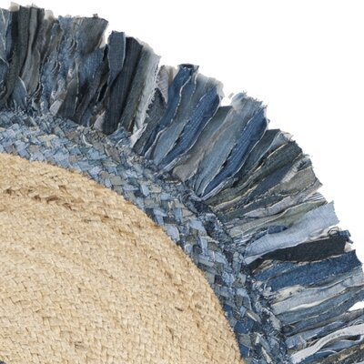 Abhay Hand Woven Jute/Sisal Ivory/Blue Area Rug Rug Size: Round 3