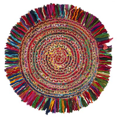 Abhay Boho Hand Woven Cotton Round Red/Blue Area Rug Rug Size: Round 3