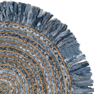 Abhay Boho Hand Woven Cotton Gray/Blue Area Rug Rug Size: Round 3