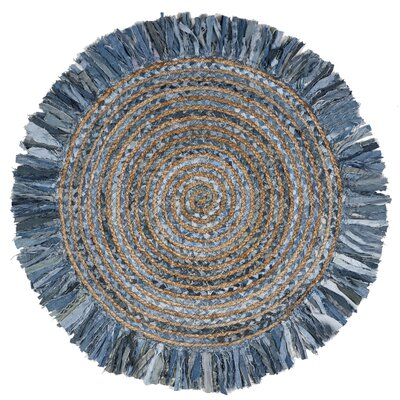 Abhay Boho Hand Woven Cotton Gray/Blue Area Rug Rug Size: Round 8