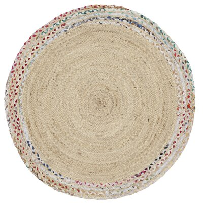 Abhay Hand Woven Cotton Ivory Area Rug Rug Size: Round 4