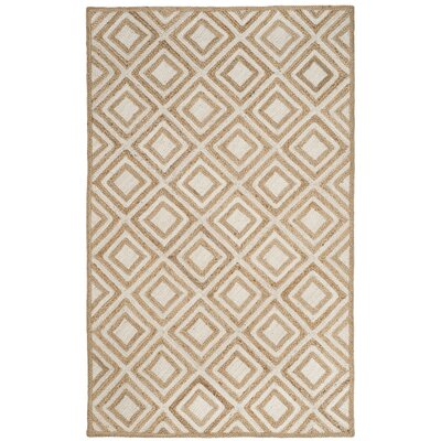 Abhay Contemporary Hand Woven Beige/White Area Rug Rug Size: Square 6