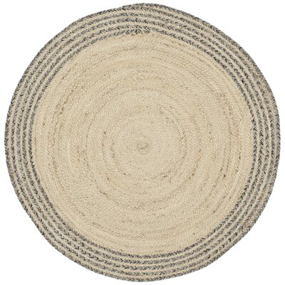 Abhay Hand Woven Ivory Area Rug Rug Size: Round 3