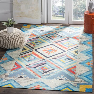 Sonakshi Hand Tufted Blue Geometric Area Rug Rug Size: Rectangle 4 x 6