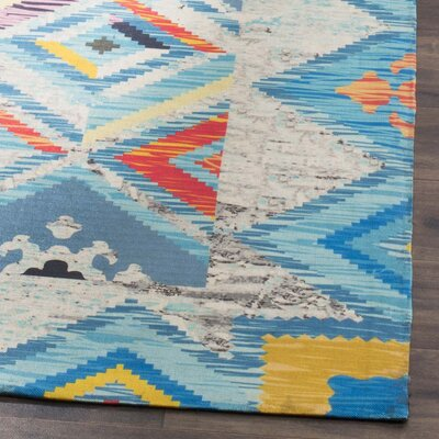 Sonakshi Hand Tufted Blue Geometric Area Rug Rug Size: Rectangle 3 x 5