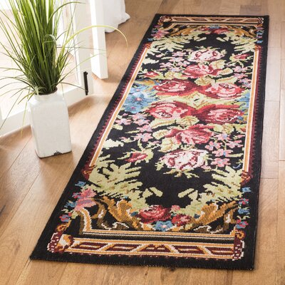 Frederica Black/Pink Area Rug Rug Size: Runner 23 x 8