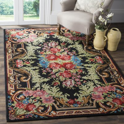 Frederica Black/Pink Area Rug Rug Size: Rectangle 6 x 9
