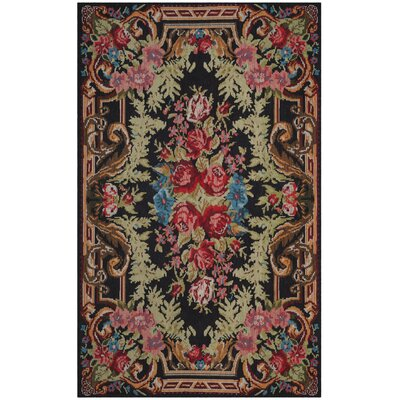 Frederica Black/Pink Area Rug Rug Size: Rectangle 3 x 5