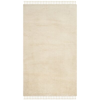 Janis Shag Hand Tufted Wool Beige Area Rug Rug Size: Rectangle 5' x 8'
