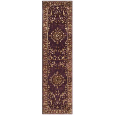 Latarra Hand Tufted Wool Burgundy Area Rug Rug Size: Runner 26 x 10