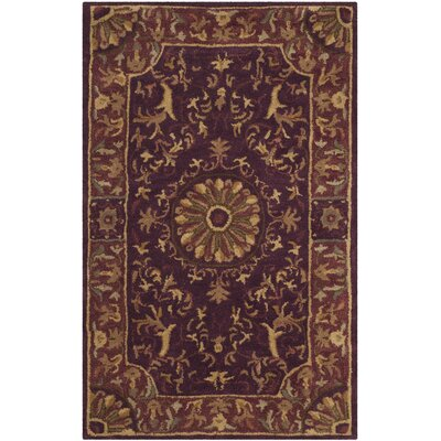 Latarra Hand Tufted Wool Burgundy Area Rug Rug Size: Rectangle 26 x 4