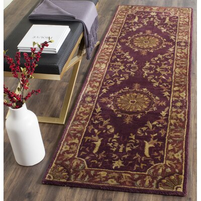 Latarra Hand Tufted Wool Burgundy Area Rug Rug Size: Runner 26 x 8