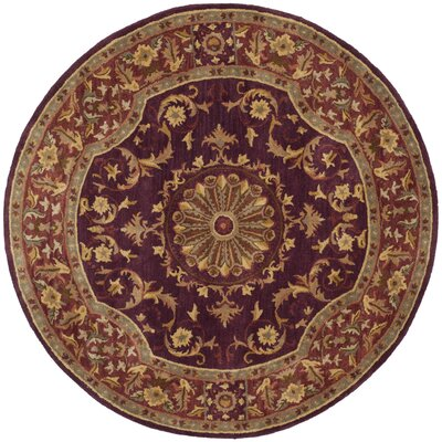 Latarra Hand Tufted Wool Burgundy Area Rug Rug Size: Round 6