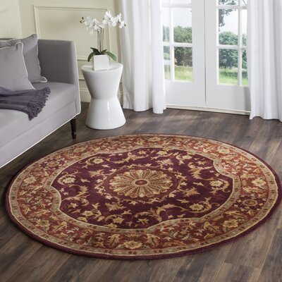 Latarra Hand Tufted Wool Burgundy Area Rug Rug Size: Rectangle 6 x 9