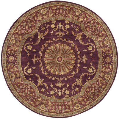 Latarra Hand Tufted Wool Burgundy Area Rug Rug Size: Round 8