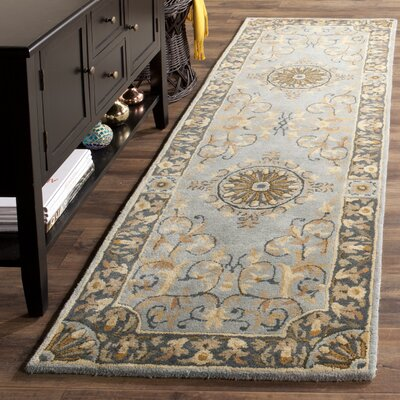 Latarra Hand Tufted Wool Blue Area Rug Rug Size: Runner 26 x 8