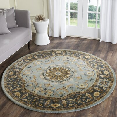 Latarra Hand Tufted Wool Blue Area Rug Rug Size: Round 36