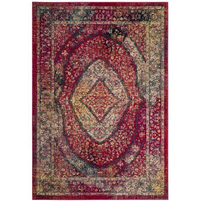 Bayshore Gardens Fuchsia Area Rug Rug Size: Rectangle 51 x 76