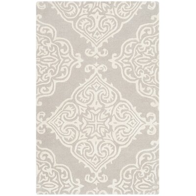Bernon Hand Tufted Silver Area Rug Rug Size: Rectangle 4 x 6