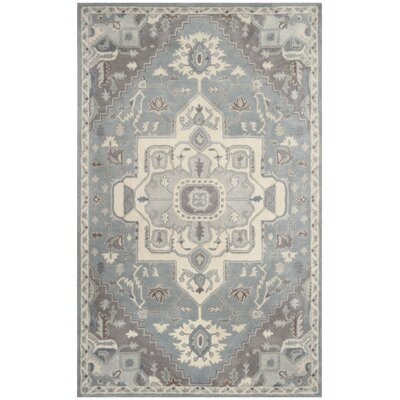 Moss Hand Tufted Wool Gray Oriental Area Rug Rug Size: Rectangle 5 x 8