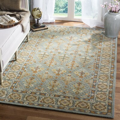 Moss Hand Tufted Wool Blue/Orange Area Rug Rug Size: Runner 23 x 8