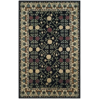 Moss Hand Tufted Wool Navy Area Rug Rug Size: Square�6