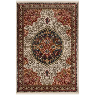 Murphy Ivory/Red Area Rug Rug Size: Rectangle 9 x 12