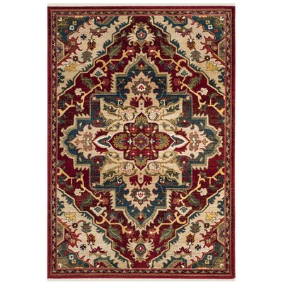 Murphy Traditional Red Oriental Area Rug Rug Size: Rectangle 51 x 75