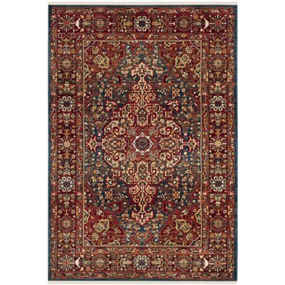 Murphy Red/Blue Oriental Area Rug Rug Size: Rectangle 51 x 75
