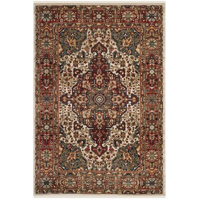 Murphy Traditional Ivory/Blue Area Rug Rug Size: Rectangle 51 x 75