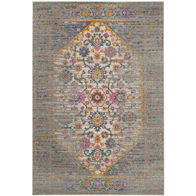 Esparza Boho Light Gray Area Rug Rug Size: Square 67