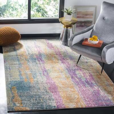 Esparza Contemporary Blue/Pink Area Rug Rug Size: Rectangle 4 x 6