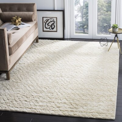 Langlois Shag Hand Tufted Ivory Area Rug Rug Size: Rectangle 6 x 9