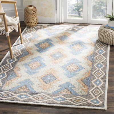 Sebrite Hand Tufted Wool Blue Area Rug Rug Size: Rectangle 8 x 10