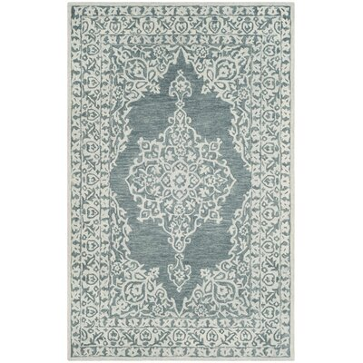 Burhardt Hand Tufted Wool Blue Area Rug Rug Size: Rectangle 5 x 8