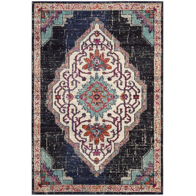 Rafael Black Area Rug Rug Size: Rectangle 9 x 12