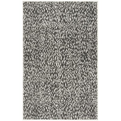 Ankit Hand Tufted Dark Grey/Ivory Area Rug Rug Size: Rectangle 5 x 8