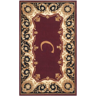 Lenora Hand Tufted Wool Maroon Area Rug� Rug Size: Rectangle 5 x 8, Letter: C
