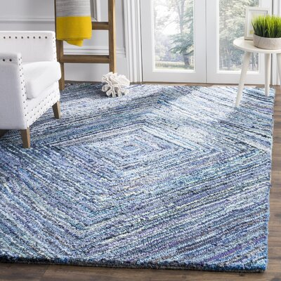 Mueller Hand Tufted Cotton Blue Area Rug Rug Size: Round�6