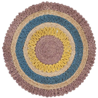 Jacques Fiber Hand Tufted Lavander/Blue/Yellow Area Rug� Rug Size: Round 7
