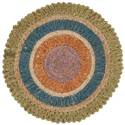 Castelnaud Natural Fiber Hand Tufted Green/Blue/Orange Area Rug� Rug Size: Round 3