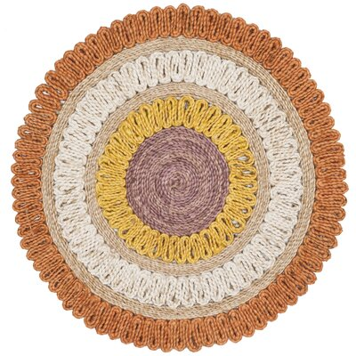 Hailee Natural Fiber Hand Tufted Orange/White Area Rug� Rug Size: Round 3