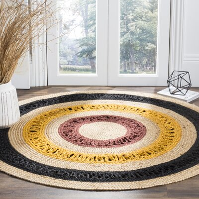 Bishop Natural Fiber Hand Woven Black/Beige Area Rug� Rug Size: Round 4