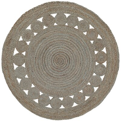 Salinas Natural Fiber Hand Woven Gray Area Rug� Rug Size: Round 3