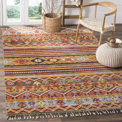 Rahal Hand Hooked Orange Area Rug� Rug Size: Rectangle 6 x 9